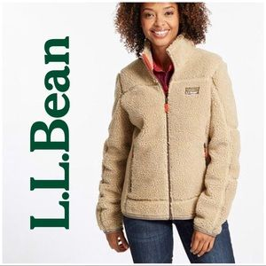L.L. Bean Mountain Pile Fleece Jacket Natural Tan